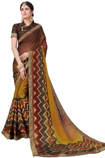Marvelous Brown Satin and Georgette Printed Casual Saree With Satin and Georgette Blouse