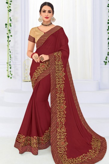 Excellent Maroon Georgette Silk Embroidered Party Wear Saree With Silk Blouse
