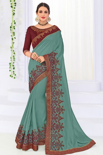 Gorgeous Teal Silk Embroidered Party Wear Saree With Silk Blouse