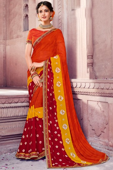 Optimum Orange Chiffon Bandhani Print Designer Saree With Dhupion Silk Blouse