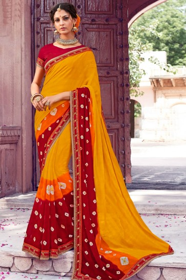 Gorgeous Yellow Chiffon Bandhani Print Designer Saree With Dhupion Silk Blouse