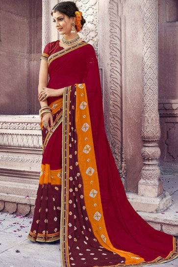 Stylish Maroon Chiffon Bandhani Print Designer Saree With Dhupion Silk Blouse