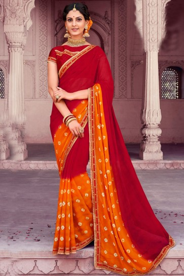 Beautiful Red Chiffon Bandhani Print Designer Saree With Dhupion Silk Blouse