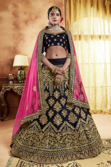 Graceful Navy Blue Velvet Embroidered Bridal Lehenga Choli With Velvet Dupatta