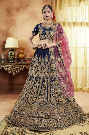 Charming Navy Blue Velvet Embroidered Bridal Lehenga Choli With Velvet Dupatta