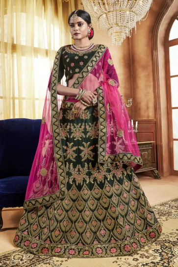 Lovely Green Embroidered Bridal Lehenga Choli With Velvet Dupatta