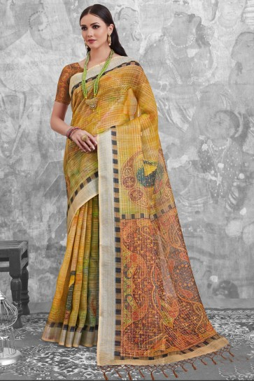 Classic Yellow Linen Cotton Saree With Linen Cotton Blouse