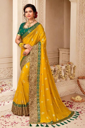 Gorgeous Yellow Embroidered Silk Saree With Silk Blouse