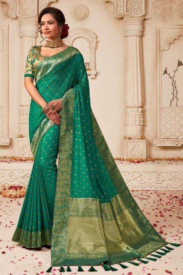 Excellent Green Embroidered Silk Saree With Silk Blouse