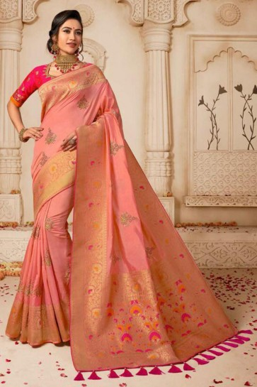 Embroidered Peach Silk Saree With Silk Blouse