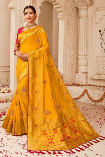 Yellow Embroidered Silk Saree With Silk Blouse