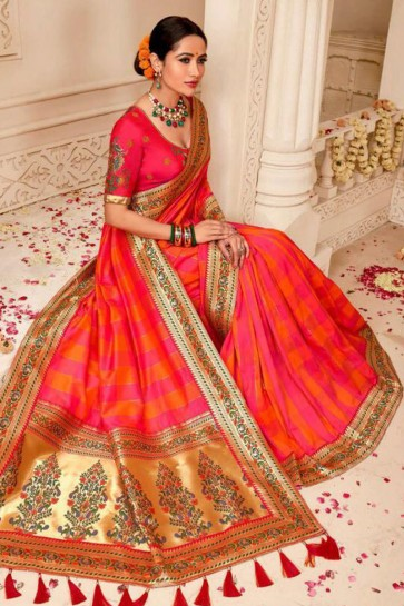 Red and Pink Embroidered Silk Saree With Silk Blouse