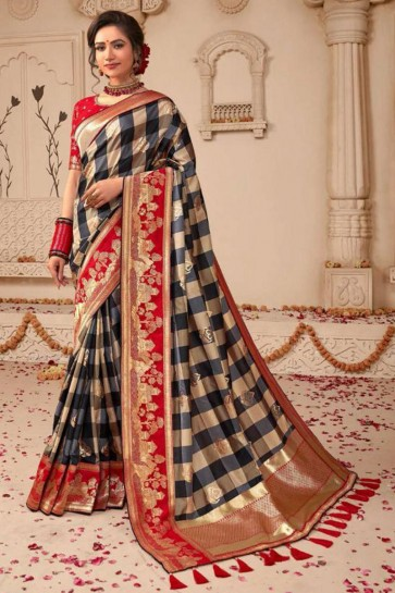 Beige and Red Embroidered Silk Saree With Silk Blouse