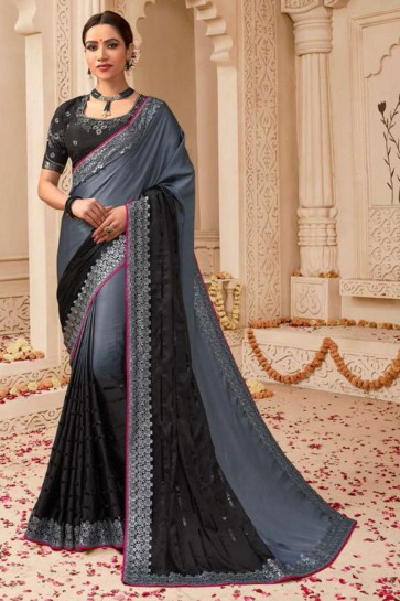 Grey and Black Embroidered Silk Saree With Silk Blouse