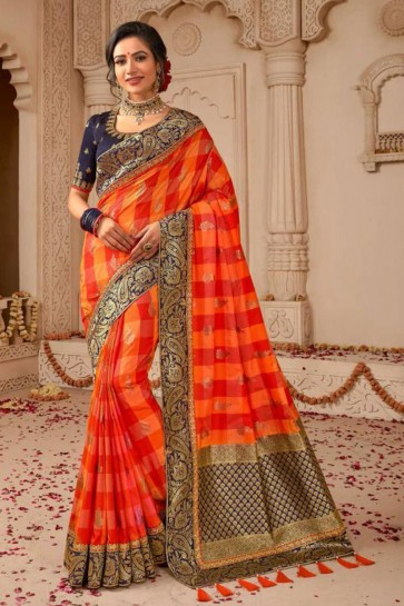 Red and Orange Embroidered Silk Saree With Silk Blouse