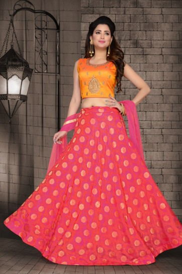 Desirable Pink Brocade Designer Hand Work Lehenga Choli With Net Dupatta
