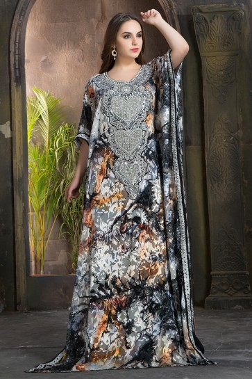 Embroidered Black Crepe Eid Special Kaftan