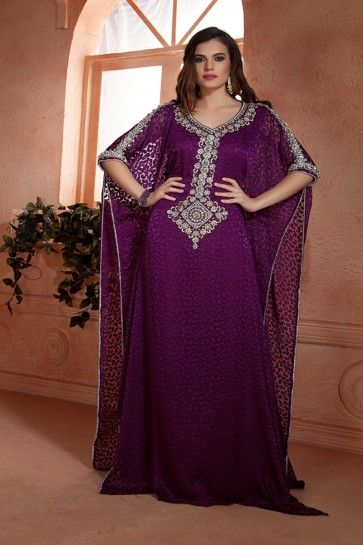 Beautiful Purple Crepe and Brasso Embroidered Eid Special Kaftan