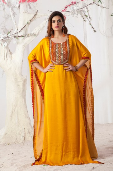 Mustard Satin, Chiffon and Crepe Embroidered Kaftan