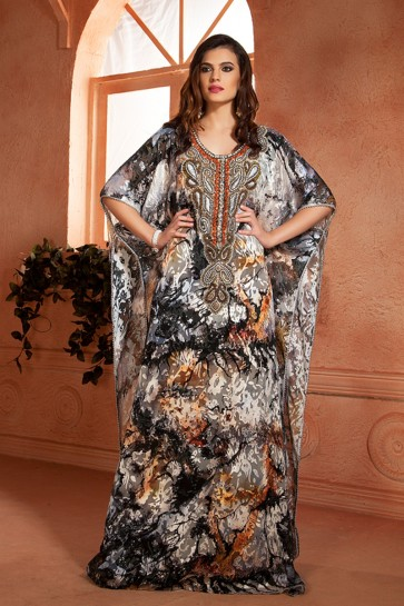 Classic Black Brasso and Crepe Embroidered Kaftan