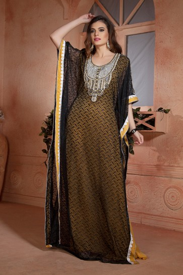 Admirable Yellow and Black Net, Crepe and Brasso Embroidered Kaftan