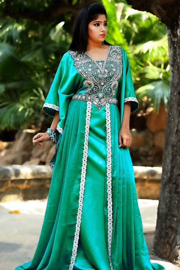 Graceful Green Silk, Crepe and Satin Embroidered Eid Special Kaftan