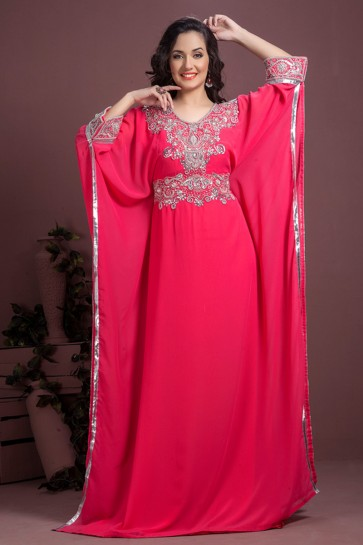 Classic Magenta Georgette and Crepe Embroidered Kaftan