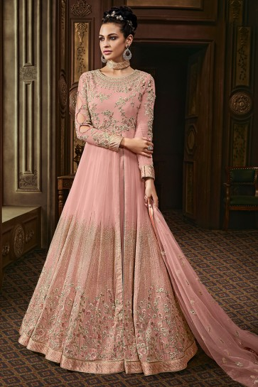 Embroidered Pink Georgette Eid Special Anarkali Salwar Suit With Net Dupatta