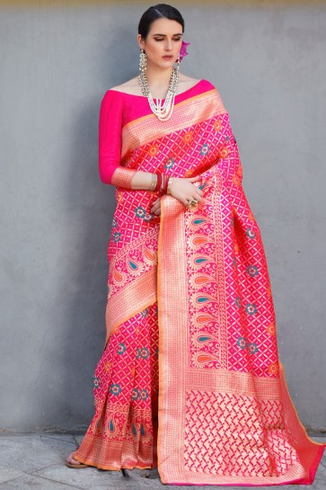 Lovely Weaving Work And Jacquard Work Pink Silk Saree With Border Work Blouse