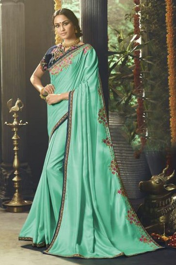 Turquoise Silk Party Wear Embroidered Saree With Banglori Silk Blouse