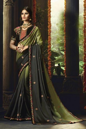Classic Mehendi Green Silk Party Wear Saree With Banglori Silk Blouse