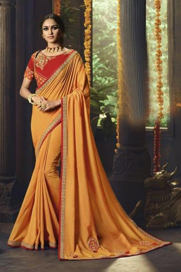 Charming Mustard Party Wear Embroidered Saree With Banglori Silk Blouse