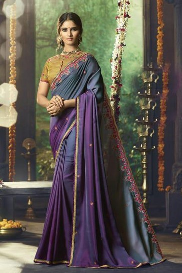 Ultimate Grey Silk Party Wear Embroidered Saree With Banglori Silk Blouse
