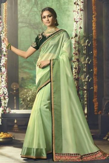 Embroidered Green Silk Party Wear Saree With Banglori Silk Blouse
