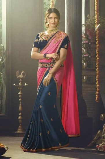 Navy Blue Silk Party Wear Embroidered Saree With Banglori Silk Blouse