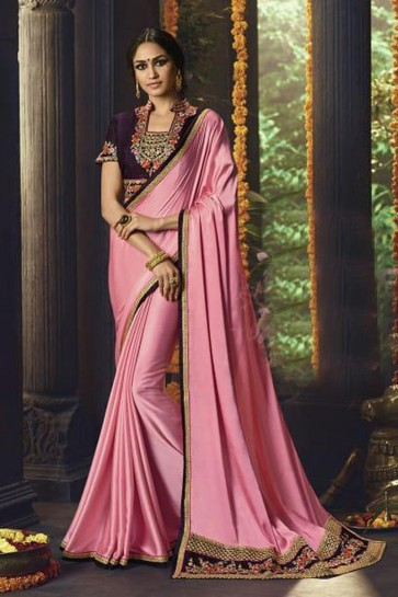 Pink Silk Party Wear Embroidered Saree With Banglori Silk Blouse