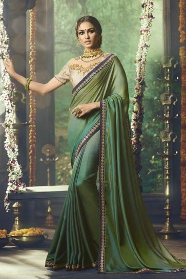 Graceful Green Silk Party Wear Embroidered Saree With Banglori Silk Blouse