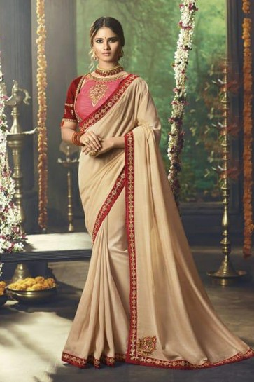 Embroidered Cream Party Wear Saree With Banglori Silk Blouse