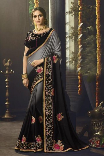 Grey and Black Silk Party Wear Embroidered Saree With Banglori Silk Blouse
