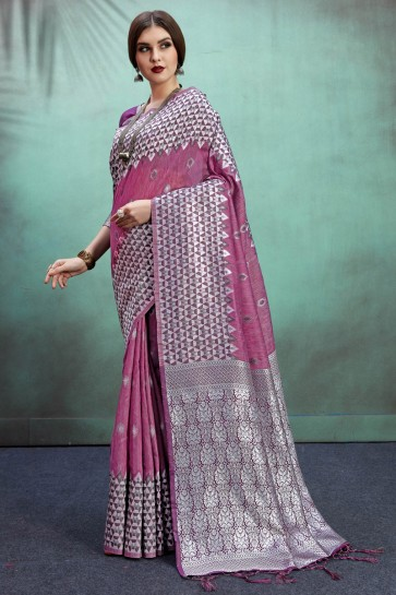 Gorgeous Banarasi Art Silk Fabric Purple Weaving Work And Jacquard Work Saree And Blouse
