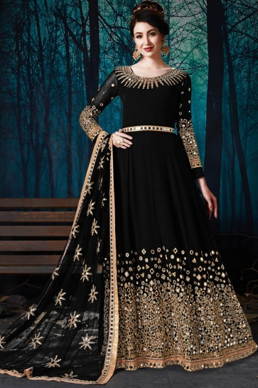 Black Faux Georgette Classic Embroidered And Mirror Work Party Wear Anarkali Suit With Chiffon Dupatta
