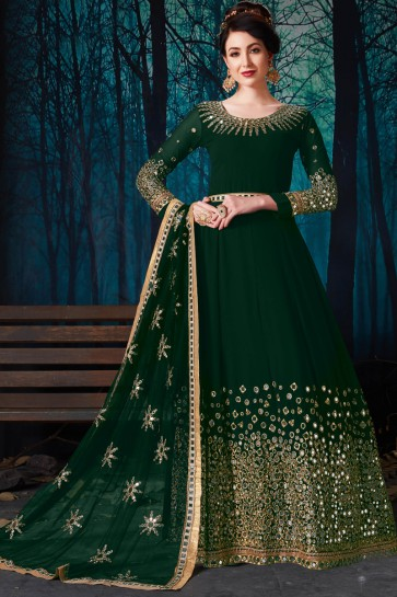 Party Wear Charming Green Embroidered And Mirror Work Faux Georgette Anarkali Suit With Chiffon Dupatta