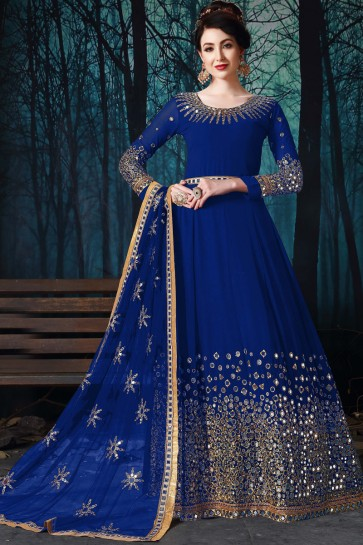 Engagement Wear Blue Faux Georgette Embroidered And Mirror Work Beautiful Anarkali Suit
