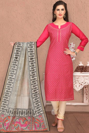 Pretty Embroidered Pink Chanderi Casual Salwar Kameez And Cotton Bottom