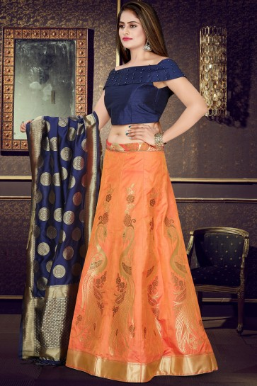 Navy Blue And Orange Banarasi Silk Jacquard Work Lehenga Choli And Dupatta