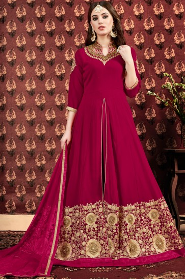 Magenta Faux Georgette Embroidery And Zari Work Anarkali Suit With Net Dupatta