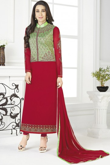 Karisma Kapoor Red Georgette Embroidered Salwar Suit With Nazmin Dupatta