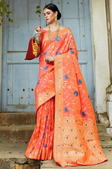 Desirable Peach Weaving Work And Jacquard Work Designer Silk Saree And Blouse