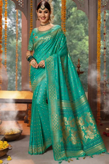 Cotton And Jacquard Fabric Teal Embroidery And Zari Work Saree And Blouse