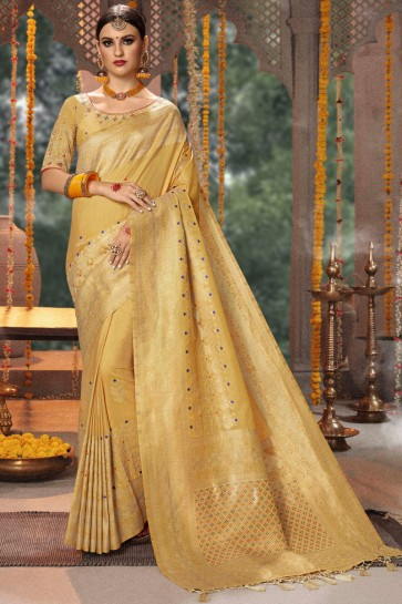 Beige Thread And Zari Work Banarasi Silk And Jacquard Fabric Saree With Cotton Blouse